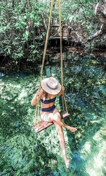 Girl at cenote Tulum